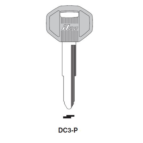 Ilco  DC3-P Chrysler, General Motors, Hyundai, Isuku, Mitsubishi, Polaris Plastic Head Key Blank; ( DC3,  X121 )