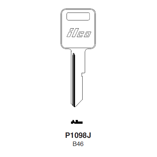 Ilco P1098J, B46-P (B46) Key Blank : American Motors, Jeep, Renualt, General Motors