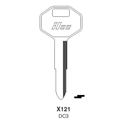 Ilco X121, DC3-P (DC3) Key Blank : Chrysler