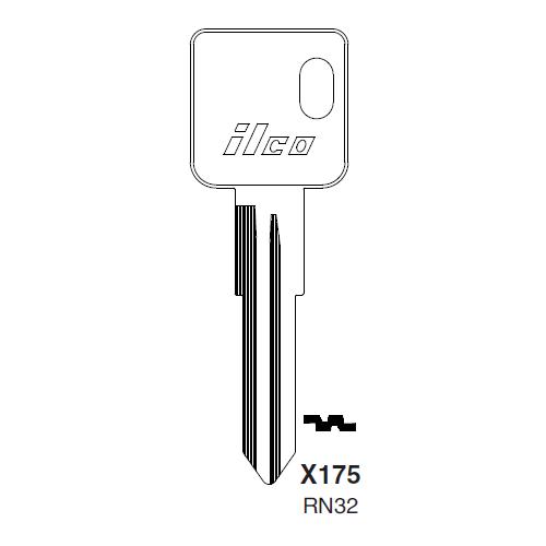 Ilco X175, RN32-P (RN32) Key Blank : American Motors, Jeep, Renualt
