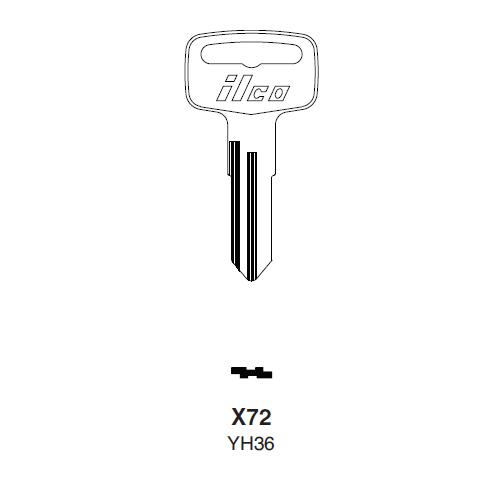 Ilco X72 (YH36) Key Blank : American Motors, Jeep, Renault