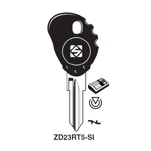 Ilco ZD23RT5-SI Transponder Cloneable Key Blank; Aprilia, Malaguti, Mazda