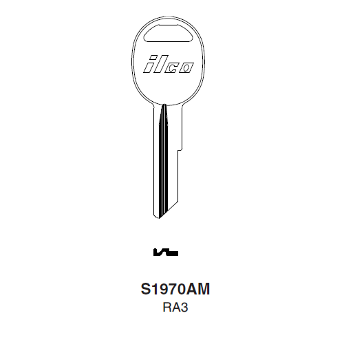Ilco S1970AM (RA3) Key Blank : American Motors, Jeep, Renualt