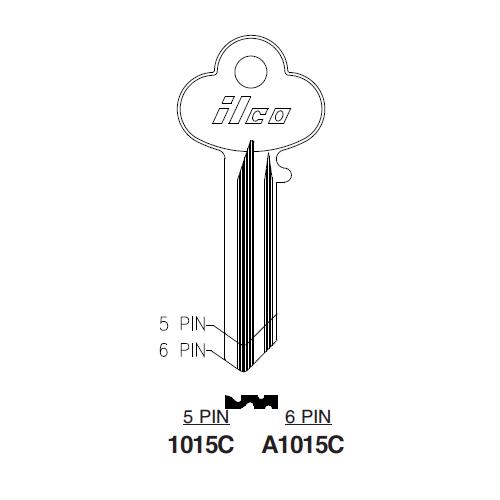 Pins 6,PK10 KABA ILCO 1043B-IL9 Key Blank
