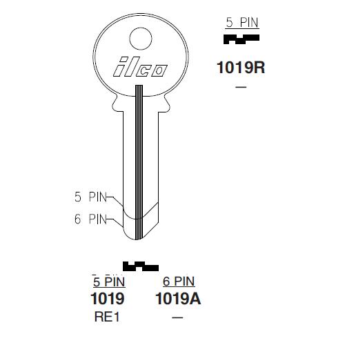 Ilco 1019A Key Blank : Reading