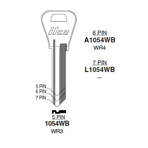 Taylor by Ilco A1054WB, WR4 Key Blank : Falcon, Weiser - 1559
