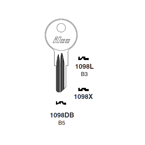 Ilco 1098L (B3) Key Blank : B&S, Strattec, General Motors, Golf Cart