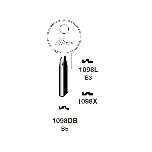 Ilco 1098DB (B5) Key Blank : Briggs & Stratton, American Motors, Jeep, Renault, Kenworth, Hudson