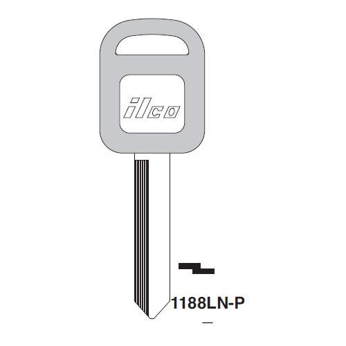 Ilco  1188LN-P Ford Plastic Head Key Blank; ( H67,  1193FD )