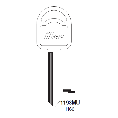 Ilco 1193MU, H66-P (H66) Key Blank : Ford, Mercury, Mariner Outboards