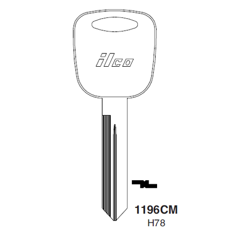Ilco 1196CM, H78-P (H78) Key Blank : Ford