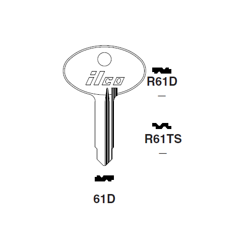 Ilco R61D Key Blank : Alfa Romeo, Fiat, Magneti-Marelli