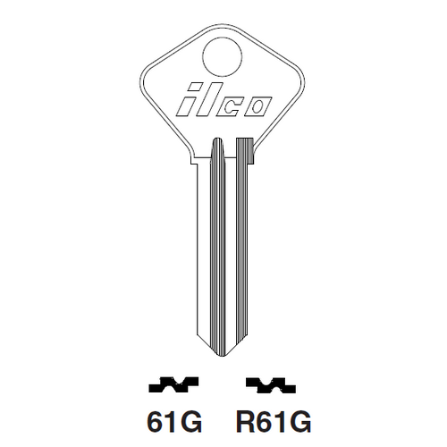 Ilco 61G Key Blank : Alfa Romeo, Fiat