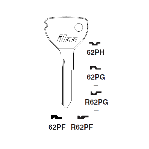 Ilco 62PH Key Blank : Opel