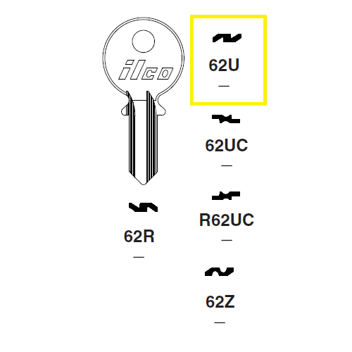 Ilco 62U Key Blank : Citroen, Renault, Simca, Talbot, Matra