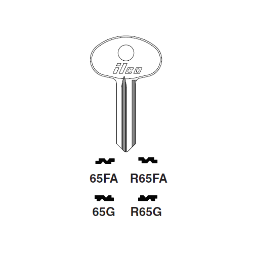 Ilco R65FA Key Blank : Fiat, Moretti