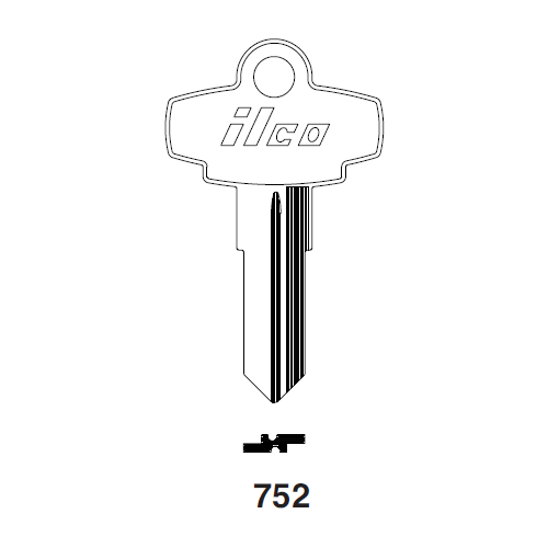 Ilco 752 Key Blank : Polaris, Dominion Lock, Fort - K752