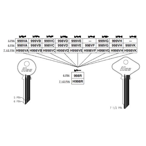 Ilco 998VC Key Blank : Yale - EN11VC
