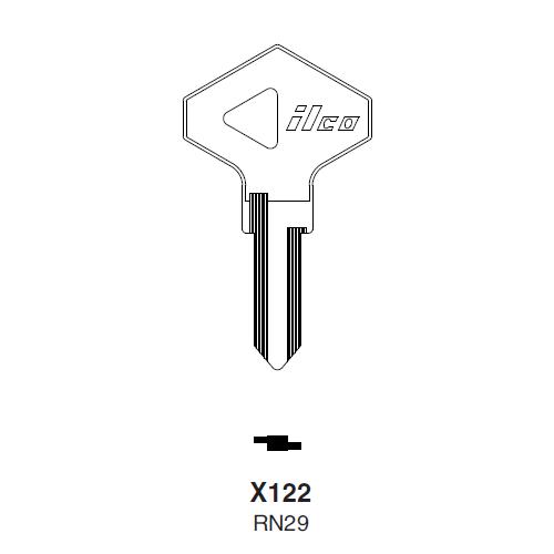 Ilco X122 (RN29) Key Blank : Alfa Romeo, Chrysler, Renualt