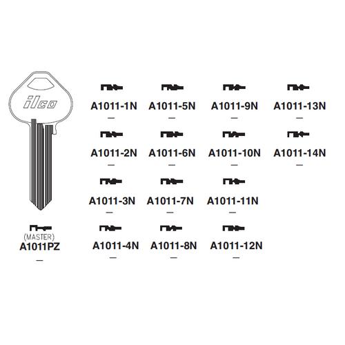 Ilco A1011PZ Key Blank : Russwin - N1X13M-6