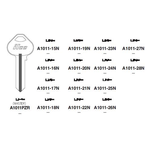 Ilco A1011-24N Key Blank : Russwin - N24-6