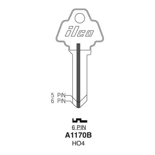 Ilco A1170B, HO4 Key Blank : Challenger