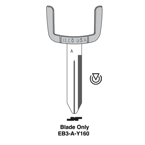 Ilco EB3-A-Y160 Chrysler, Dodge, Jeep, Plymouth, Mitsubishi, Sterling Electronic Key Blade Only