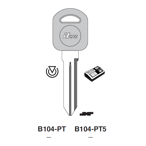 Ilco B104-PT5 Transponder Clonable Key Blank; General Motors