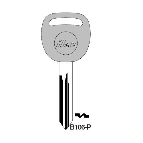 Ilco  B106-P Saturn Plastic Head Key Blank; ( B106,  P1115 )