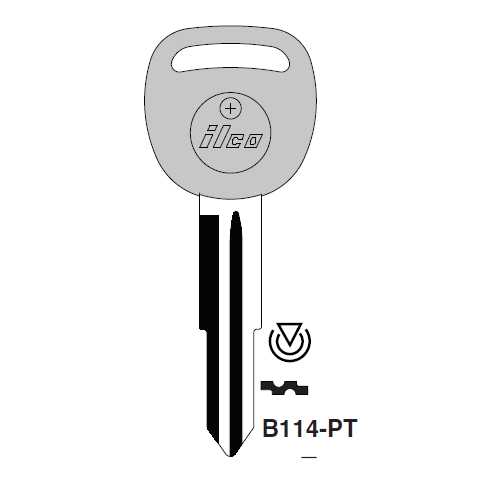 Ilco B114-PT Transponder Key Blank; General Motors
