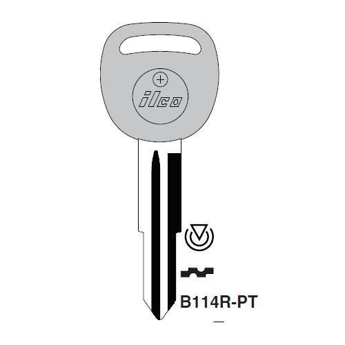 Ilco B114R-PT Transponder Key Blank; GM