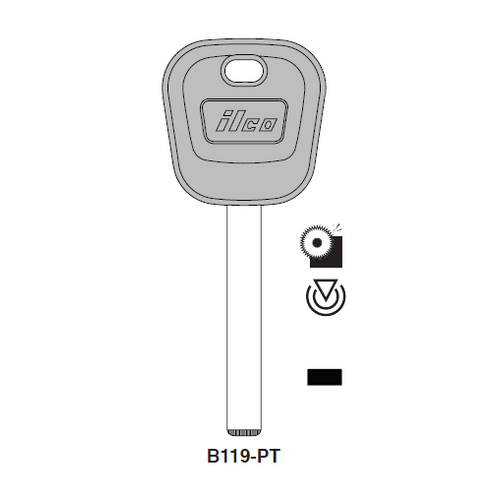 Ilco B119-PT Transponder Key Blank; General Motors