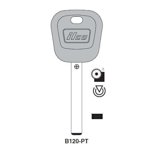 Ilco B120-PT Transponder Key Blank; General Motors