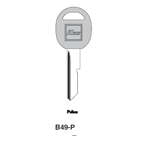 Ilco  B49-P General Motors Plastic Head Key Blank; ( B49,  S1098B )