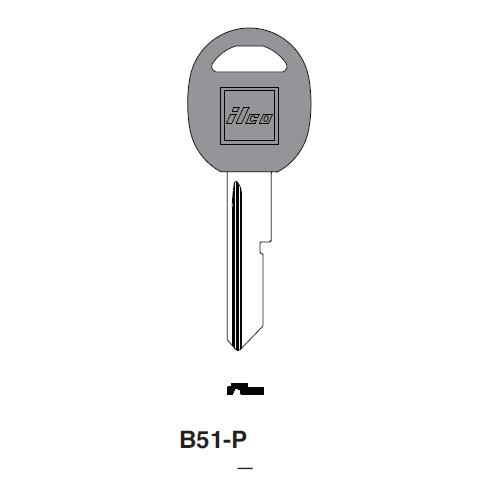 Ilco  B51-P General Motors Plastic Head Key Blank; ( B51,  S1098D )