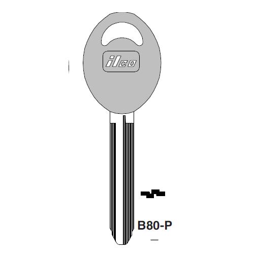 Ilco  B80-P Geo Plastic Head Key Blank; ( B80,  X225 )