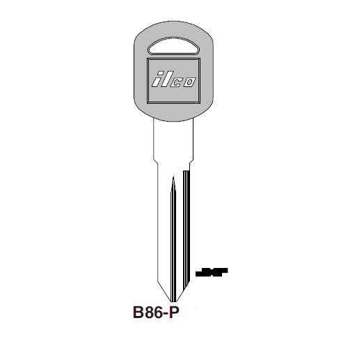 Ilco  B86-P General Motors Plastic Head Key Blank; ( B86,  P1106 )