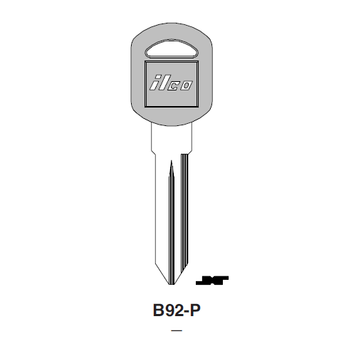 Ilco  B92-P General Motors Plastic Head Key Blank; ( B92,  P1109 )
