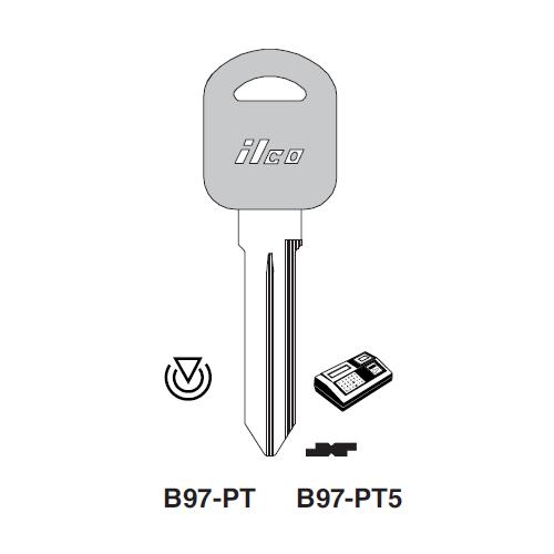 Ilco B97-PT5 Transponder Clonable Key Blank; General Motors