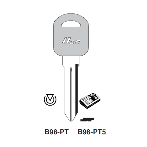 Ilco B98-PT Transponder Key Blank; General Motors