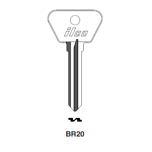 Ilco BR20 Key Blank : British Leyland, Ford International, Saab