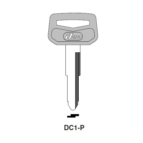 Ilco  DC1-P Chrysler, General Motors, Isuzu, Mitsubishi, Suzuki Automobiles Plastic Head Key Blank; ( DC1,  X54 )
