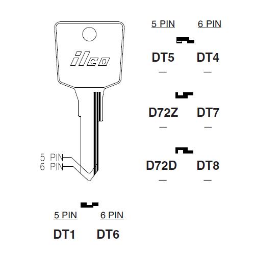 Ilco DT6 Key Blank : Nissan