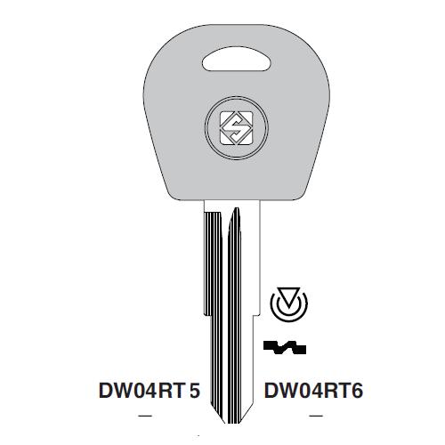 Ilco DW05RT5 Transponder Clonable Key Blank; Daewoo, General Motors