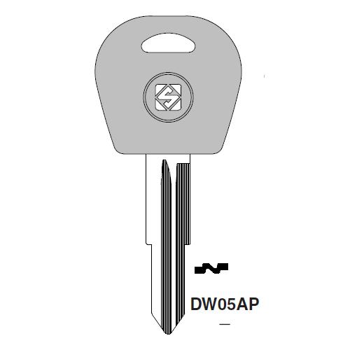 Ilco  DW05AP Daewoo Plastic Head Key Blank