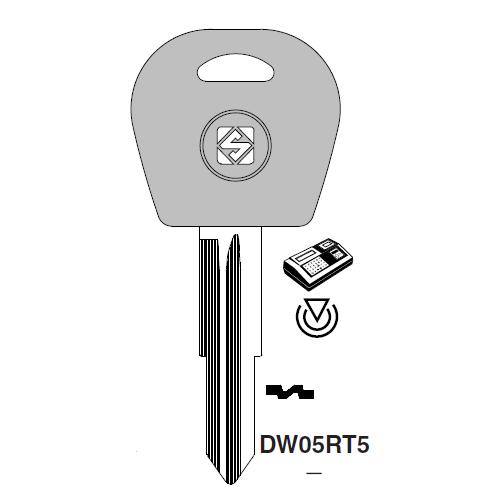 Ilco DW04RT5 Transponder Key Blank; Daewoo