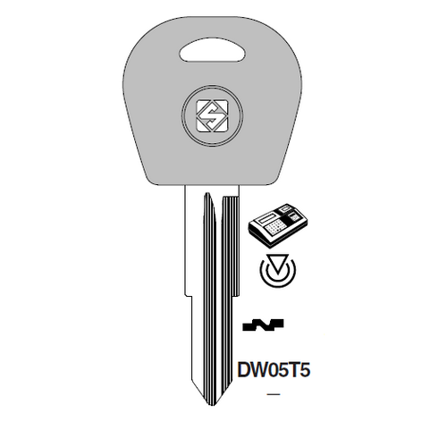 Ilco DW05T5 Transponder Clonable Key Blank; Daewoo, General Motors
