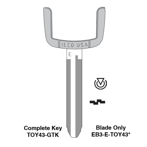 Ilco EB3-E-TOY43 Toyota, Scion, Pontiac Electronic Key Blade Only