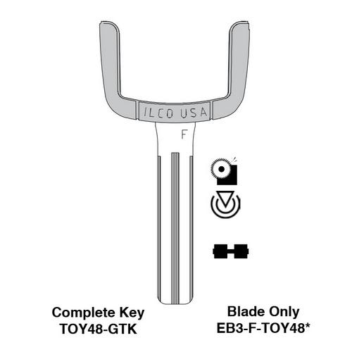 Ilco EB3-F-TOY48 Toyota, Lexus, Hyundai Electronic Key Blade Only