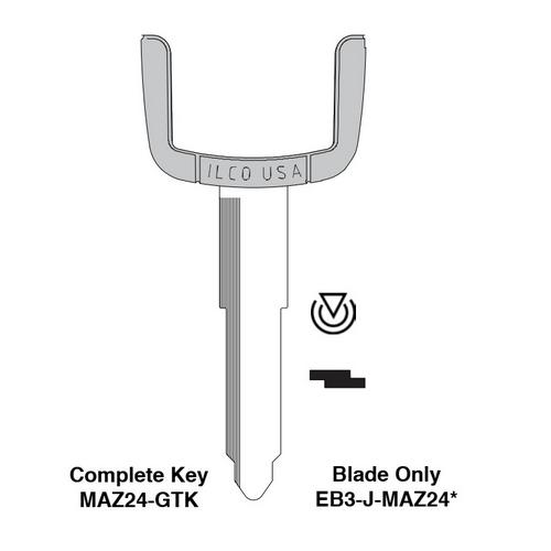 Ilco EB3-J-MAZ24 Mazda Electronic Key Blade Only